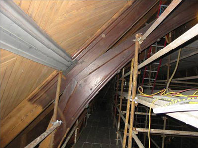 A wooden roof joint in a recent Historical restoration before cleaning.