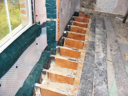 Wet Rot treated joist ends