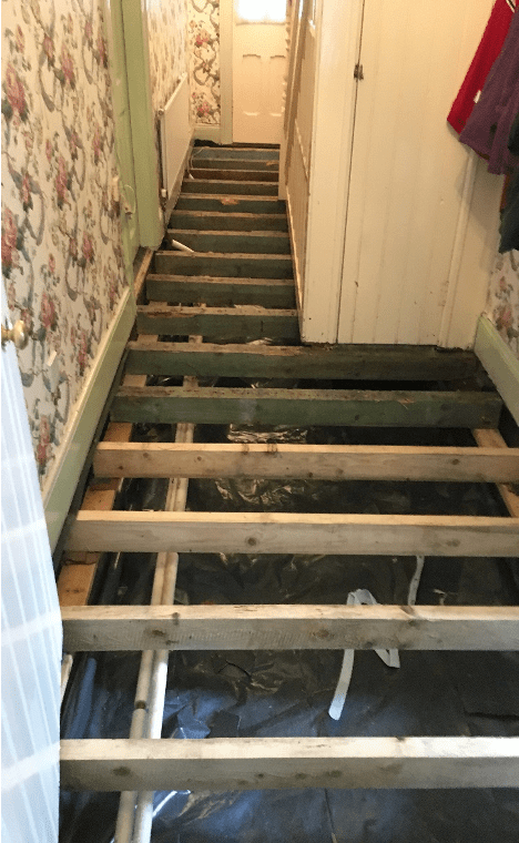 Wet rot hall getting repaired