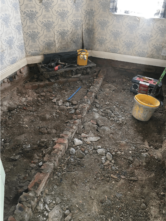 Rear room affected by wet rot